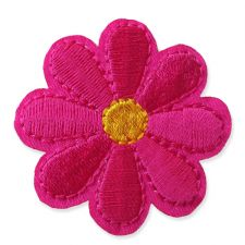 HOT PINK DAISY MOTIF IRON ON EMBROIDERED PATCH APPLIQUE